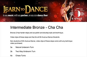 5th Avenue Dance Intermediate Bronze Chacha 1