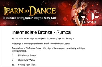5th Avenue Dance Intermediate Bronze Rumba 1