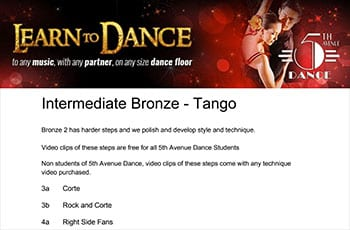 5th Avenue Dance Intermediate Bronze Tango 1