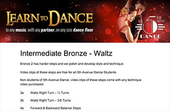 5th Avenue Dance Intermediate Bronze Waltz 1