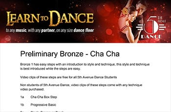 5th Avenue Dance Preliminary Bronze Chacha 1