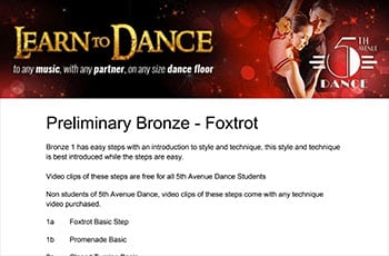 5th Avenue Dance Preliminary Bronze Foxtrot 1