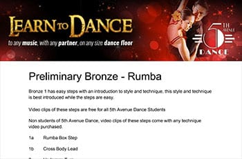 5th Avenue Dance Preliminary Bronze Rumba 1