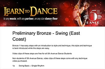 5th Avenue Dance Preliminary Bronze Swing 1