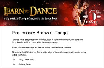 5th Avenue Dance Preliminary Bronze Tango 1