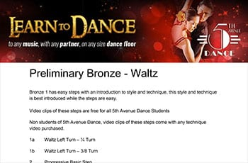 5th Avenue Dance Preliminary Bronze Waltz 1