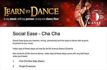 5th Avenue Dance Social Ease Chacha 1