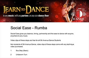 5th Avenue Dance Social Ease Rumba 1