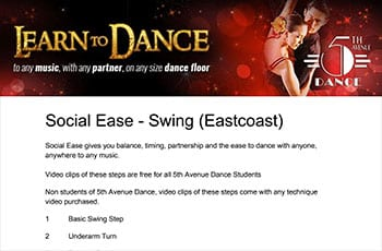 5th Avenue Dance Social Ease Swing 1