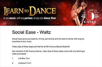 5th Avenue Dance Social Ease Waltz 1